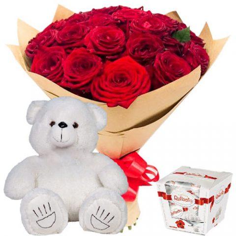 "25 роз, ""Raffaello"" и мишка"
