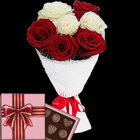 7 роз и конфеты