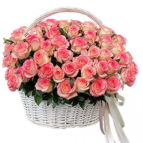 "51 роза ""Джумилия"" в корзине"